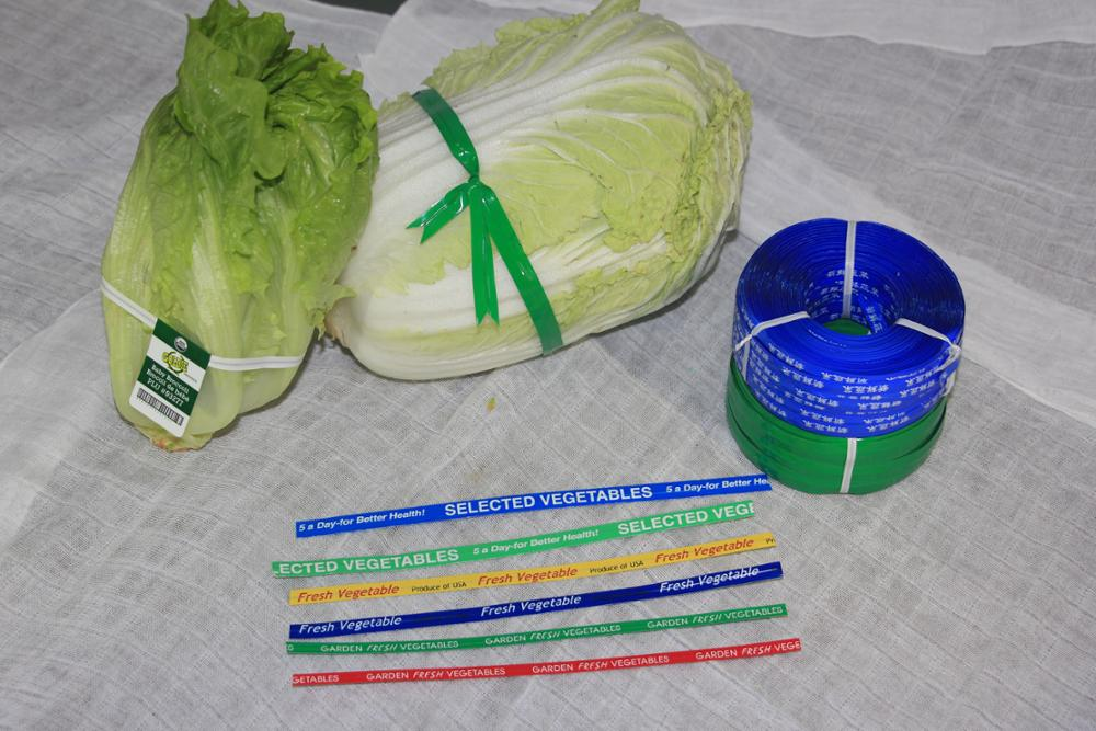 PET plastic printed twist tie with bar code for fresh vegetable