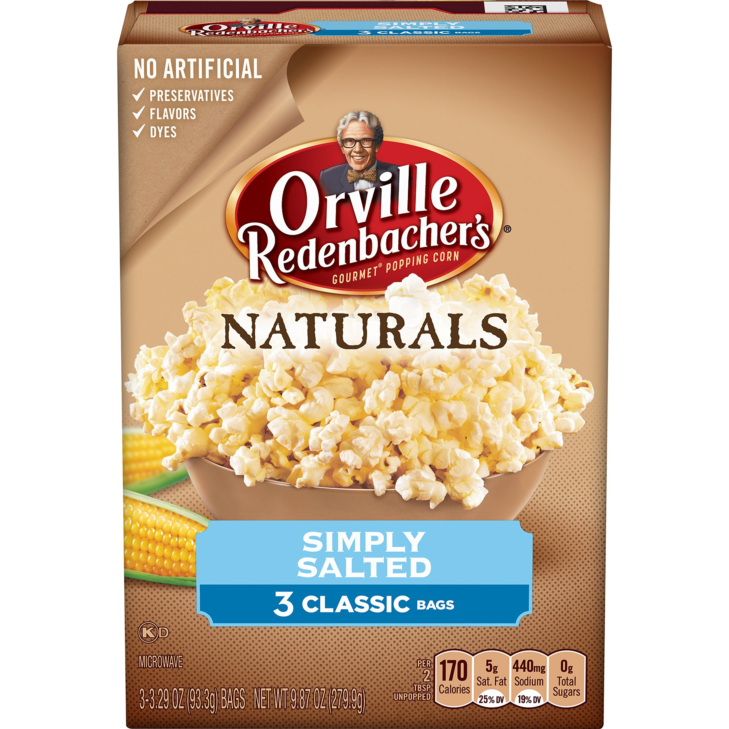 Orville Redenbacher's Naturals Simply Salted Popcorn,9.87 oz, 36 Count (Pack of 12)