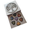 Chakra Set With Wooden Box : Engraved Chakra Sets In Heart shape : Wholesale 7 Chakra Stone Set With Tree Of Life Box