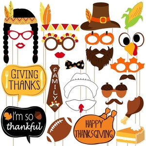 25PCS Thanksgiving Party Photo Booth Props Party Decorations Happy Thanksgiving Party Supplies
