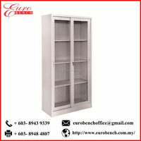 Euro Bench FHGD13 Full Height GLASS Sliding Door with 3 SHELVES high quality steel office cabinet