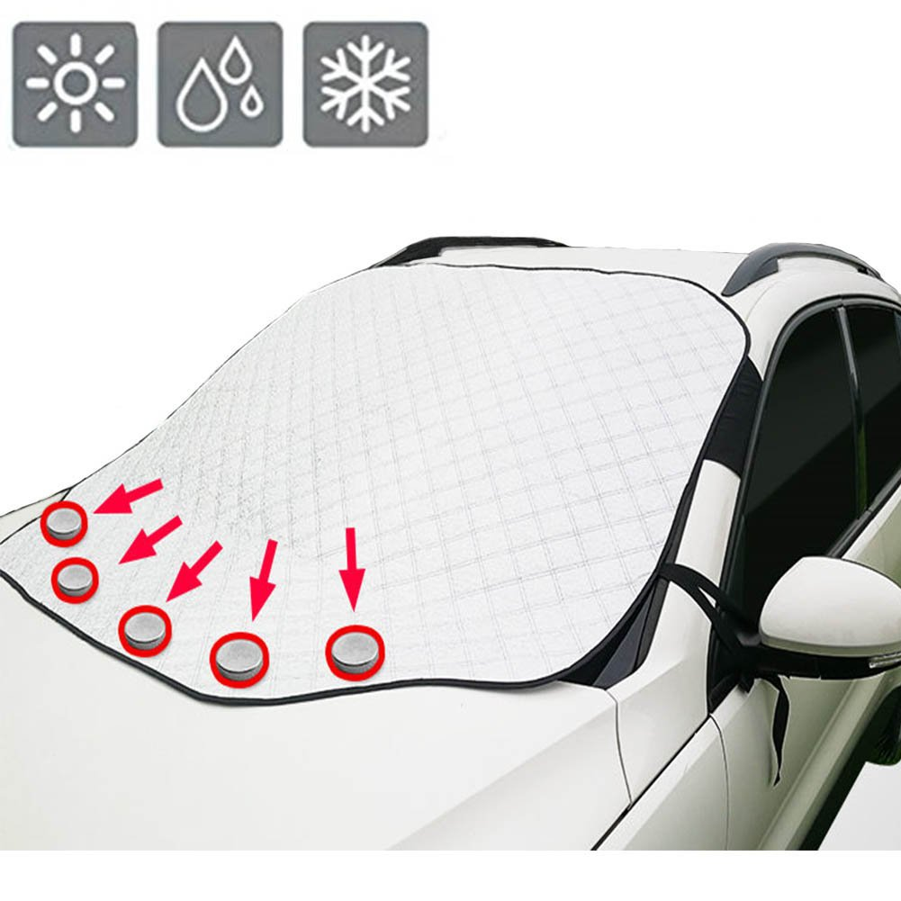 """[Upgraded Version]Car Windshield Snow Cover & Sun Shade Protector with Storage Pouch, Extra Large & Thick Windproof Magnetic Windshield Cover, Fit for Most Vehicle with Size 72.8""""×48.4""""(Silver)"""