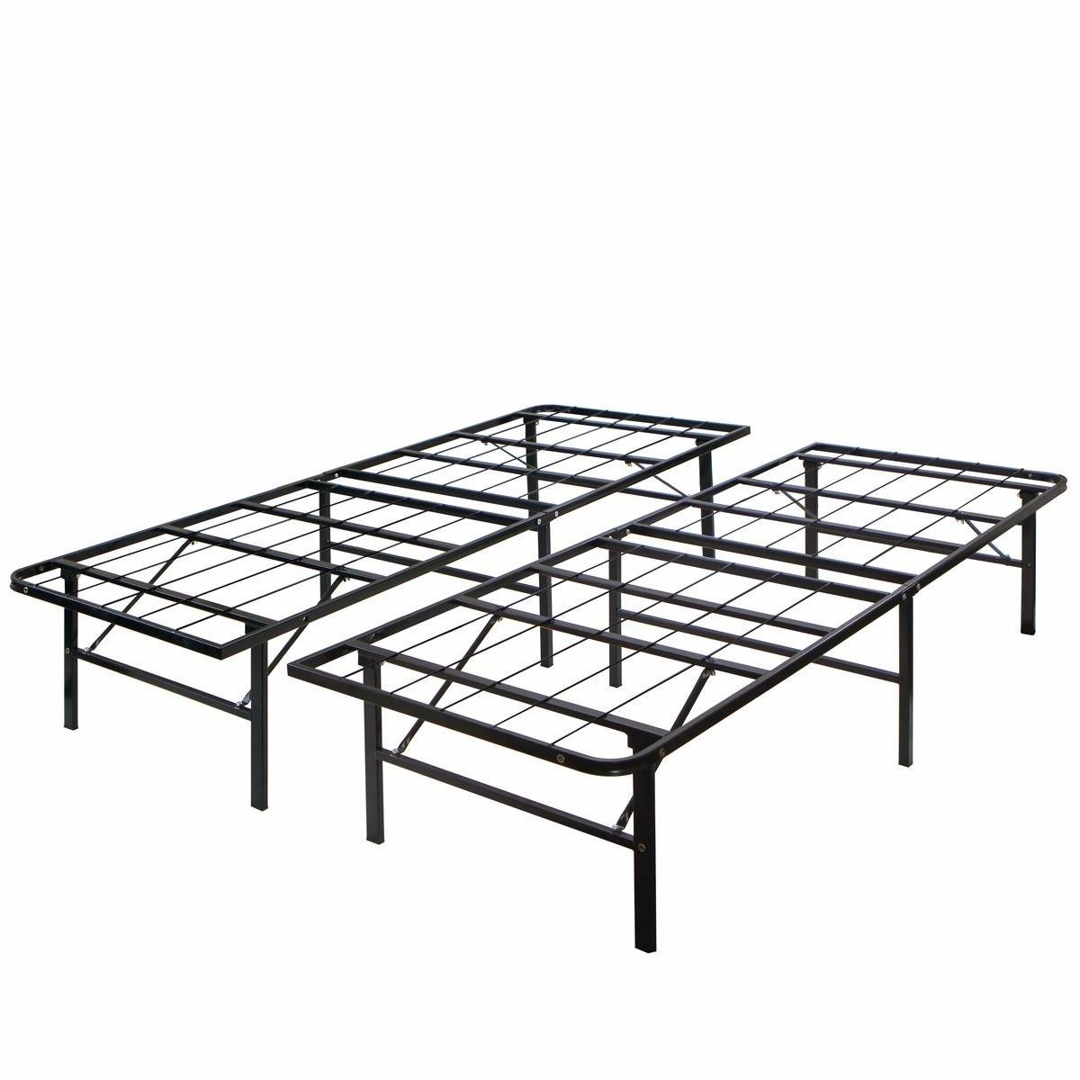 New Modern king Size Bi-Fold Folding Platform Metal Bed Frame Mattress Foundation