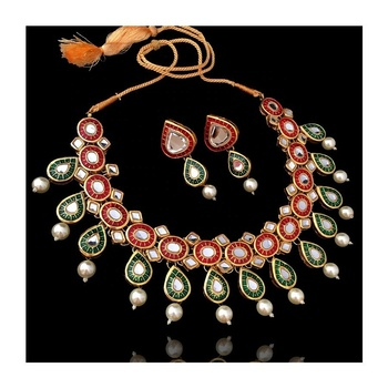 2b95724047623 Gold Plated Kundan Necklace Set With Green And Red Meenakari - Buy Fashion  Jewelry Modern Jewelry Exclusive Jewelry Beautiful Design Elegant Design ...