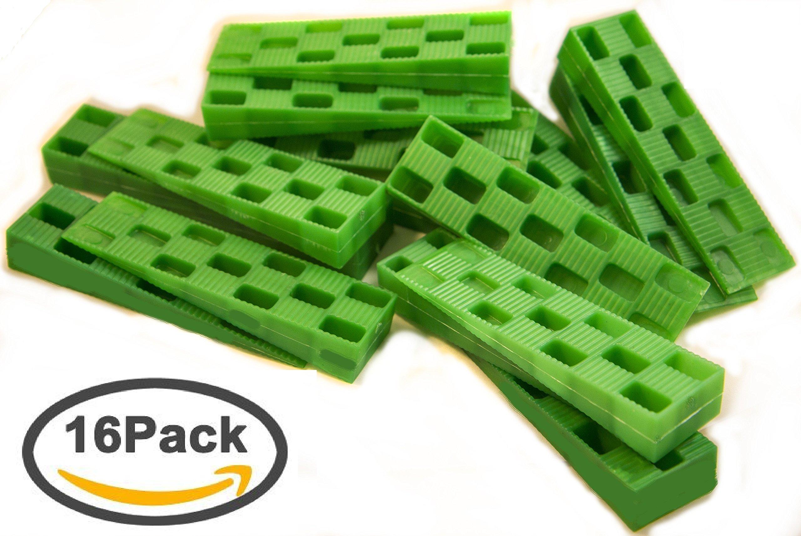 """Plastic Wedge - for Using as Door Wedges, Window Wedges, Flooring Spacers - Universal Plastic Shims - 4.5""""х1.2""""х0.7"""" - Green - 16 per Pack"""