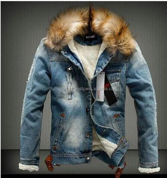 3c5759b8ef4b Fashion Men Faux Fur Collar Denim Jacket Thick Jean Coat Outwear ...