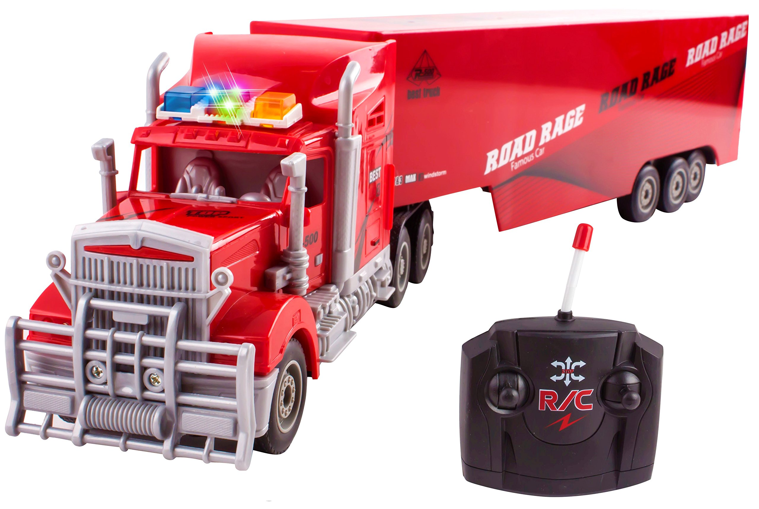 "Toy Semi Truck Trailer 23"" Electric Hauler Remote Control RC Transporter Truck Ready To Run Full Cargo Big Rig (Red)"