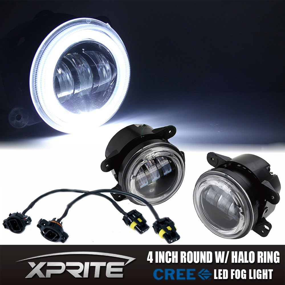 Xprite 4 Inch 60W Cree Led Fog Lights W/ White Halo Ring DRL W/ H16 Adapter for Jeep Wrangler 97-17 JK TJ LJ Off Road Fog Lamps