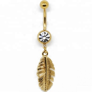 Navel gold feather dangle with clear gem belly button ring piercing