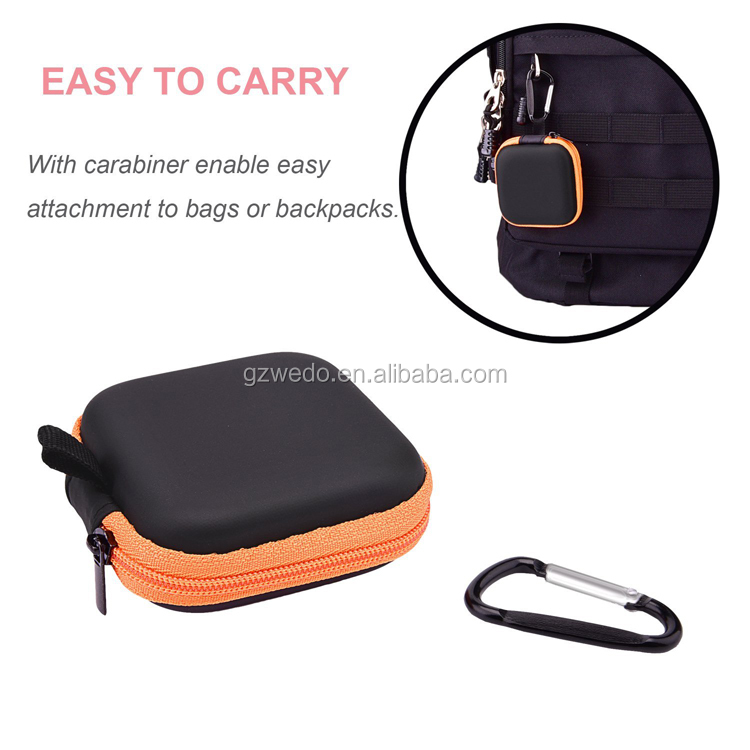 In Ear Headset Headphone Earphone Earbud Case Mini Storage Carrying Pouch EVA Bag with Carabiners