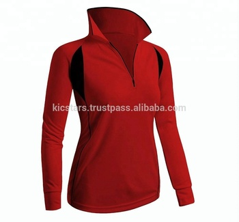 c17f51d2 ... wholesale best quality red full sleeve half zip polo shirt for women  2018 686aa ab20a