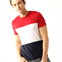 Popular OEM Service 100% Cotton Casual T shirt for Mens Design your Own Color Block T Shirt