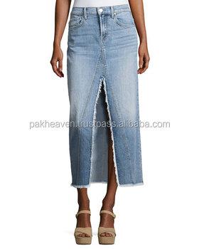 Verrassend Custom Denim Rok Jeans Korte Rok Lange Denim Rok Met Split Vooraan WF-34