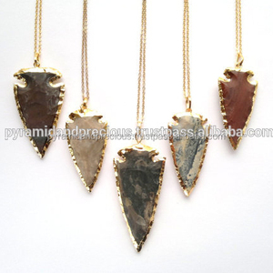 Trendy Jasper Arrowhead Gold Electroplated Pendant Necklace