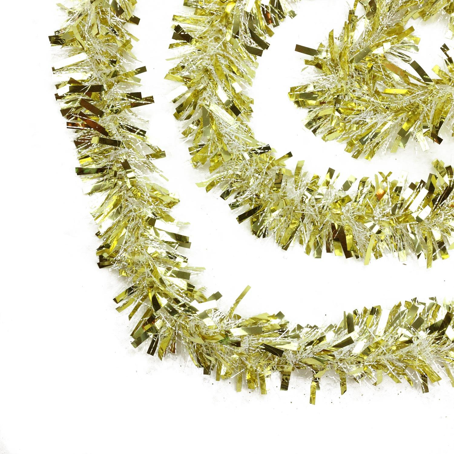 get quotations 50 festive gold and white thick cut christmas tinsel garland unlit 6 ply