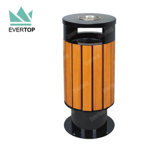 DA-78F Round Wood and Metal Dustbin Outdoor Cigarette Trash Bin Outdoor Street Garbage Can Commercial Garbage Bin Outdoor