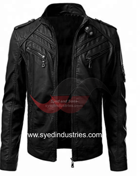 Leather Motorbike Jacket made with Original YKK zippers