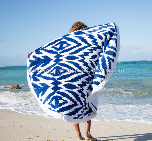 Black Round Beach Towel