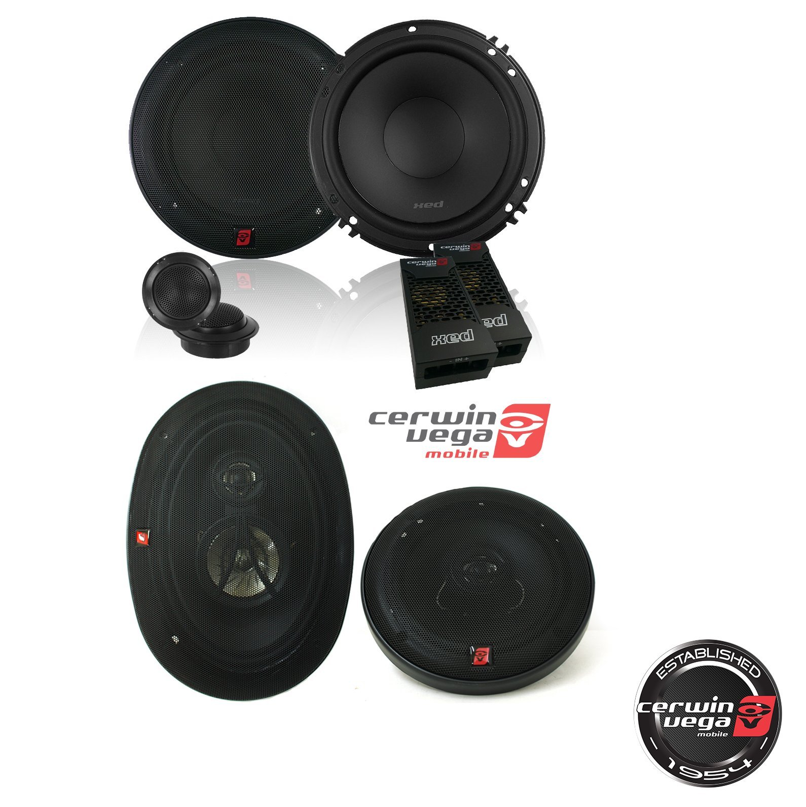 "CERWIN VEGA XED650C 6.5-Inch 300 Watts Max 2-Way Component Speaker Set W/ Cerwin-Vega XED693 350W 6 x 9"" 3-Way Coaxial Speakers"