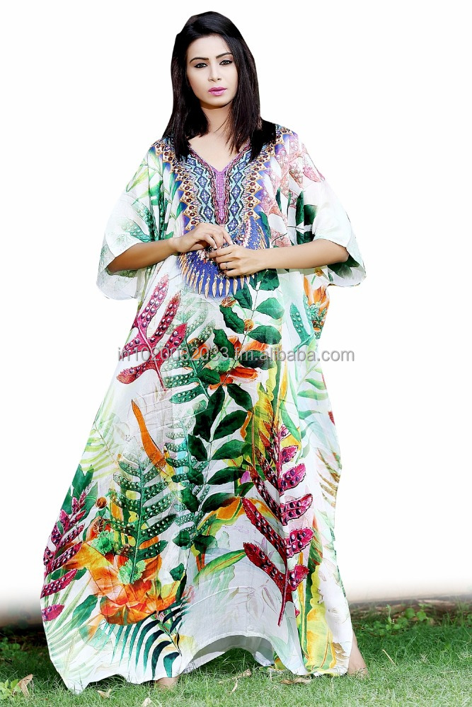New 100%Silk kaftan beaded embellished digital print full length caftan sillk