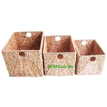 Home Basket Vietnam Crafts Wholesale Log Chunky Baskets, Water Hyacinth  Wicker Storage Basket, Big