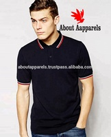 Custom high quality men solid pique polo shirt twin tipped polo t shirt/Slim Fit Twin Tipped Polo Shirt in Navy