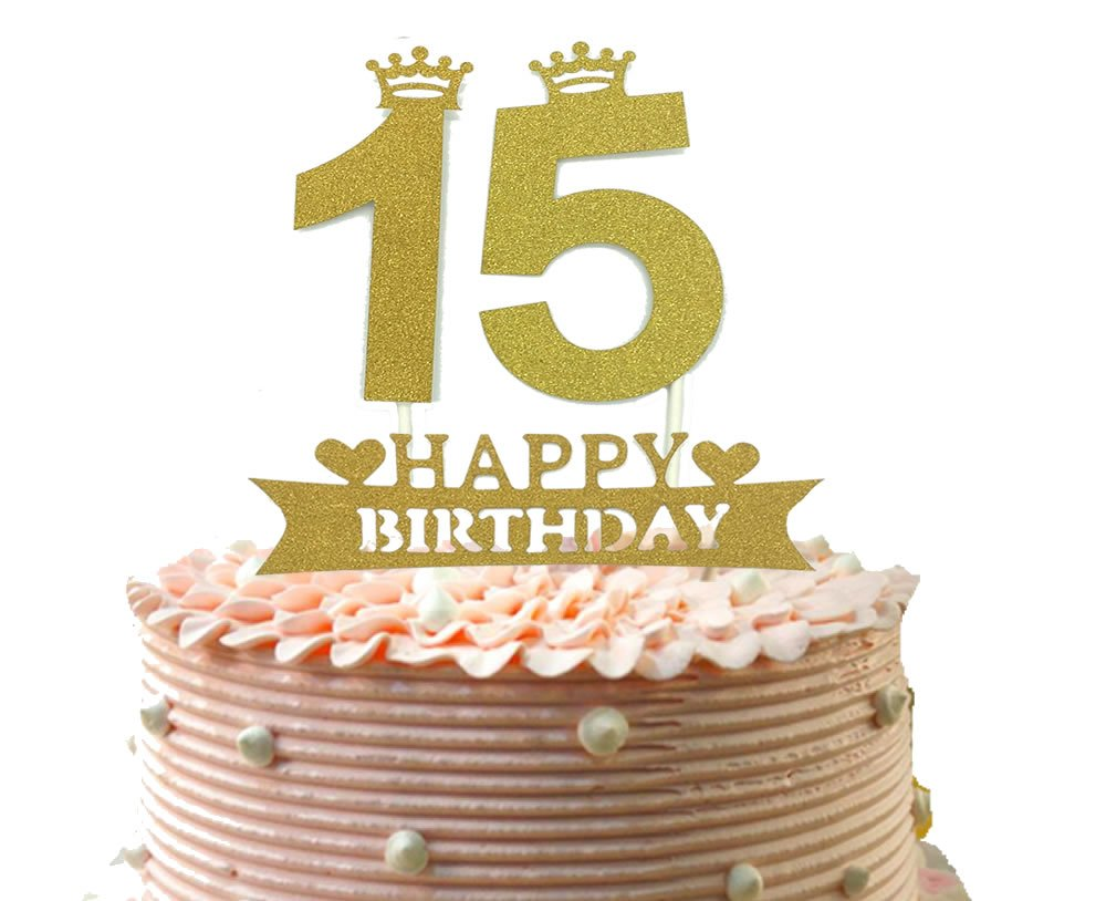 Buy 15th Cake Topper and Happy Birthday Party Supplies Decoration ...