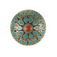 Nepalese designer coral & turquoise inlay tibetan silver metal ring from Made in Nepal SIRG1646