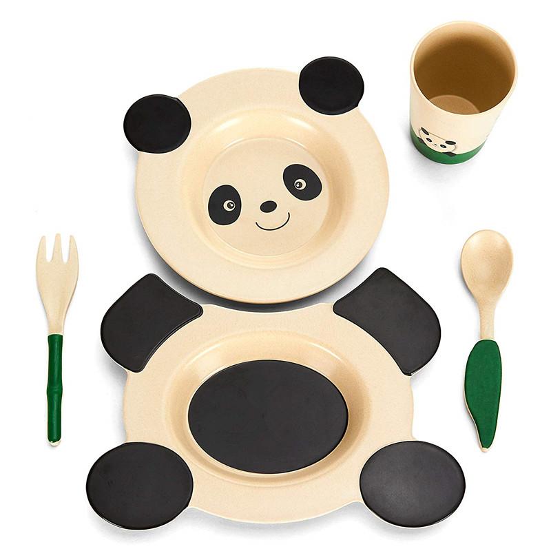 การ์ตูนสัตว์จานไม้ไผ่เด็กอาหารจานชามชุด Unbreakable จานชามชุดจาน