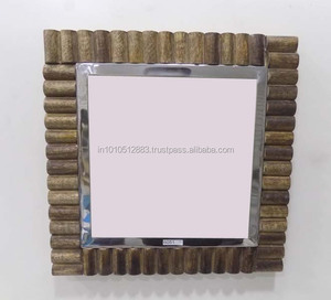 Wooden frame Square shape Indian handicraft decorative wall Mirror