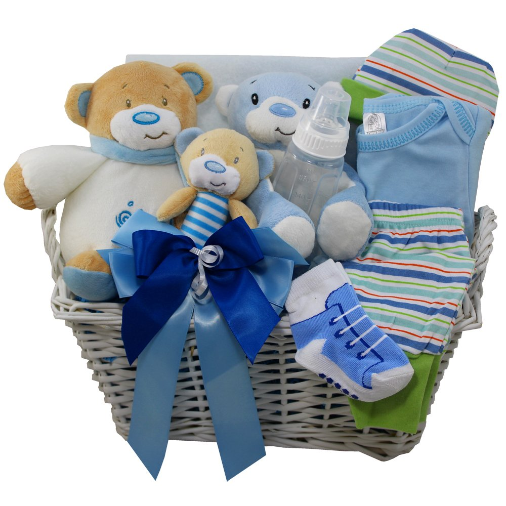 Art of Appreciation Gift Baskets Sweet Baby Special Delivery Gift Basket with Teddy Bear, Boy