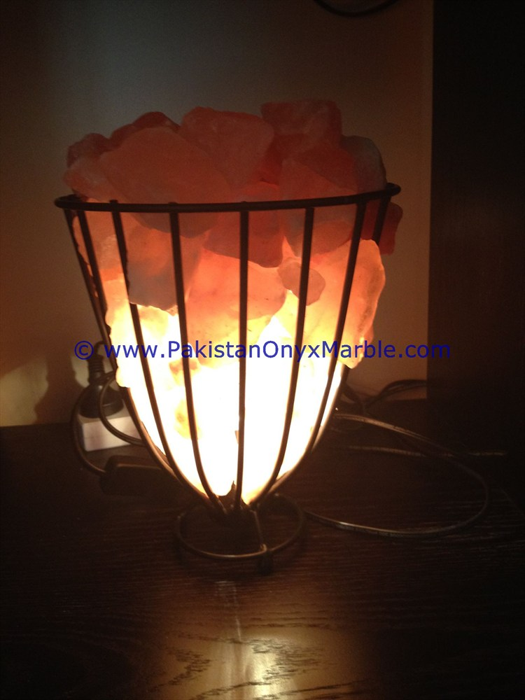 night light Beautiful handmade iron Basket with Himalayan Salt Chunks