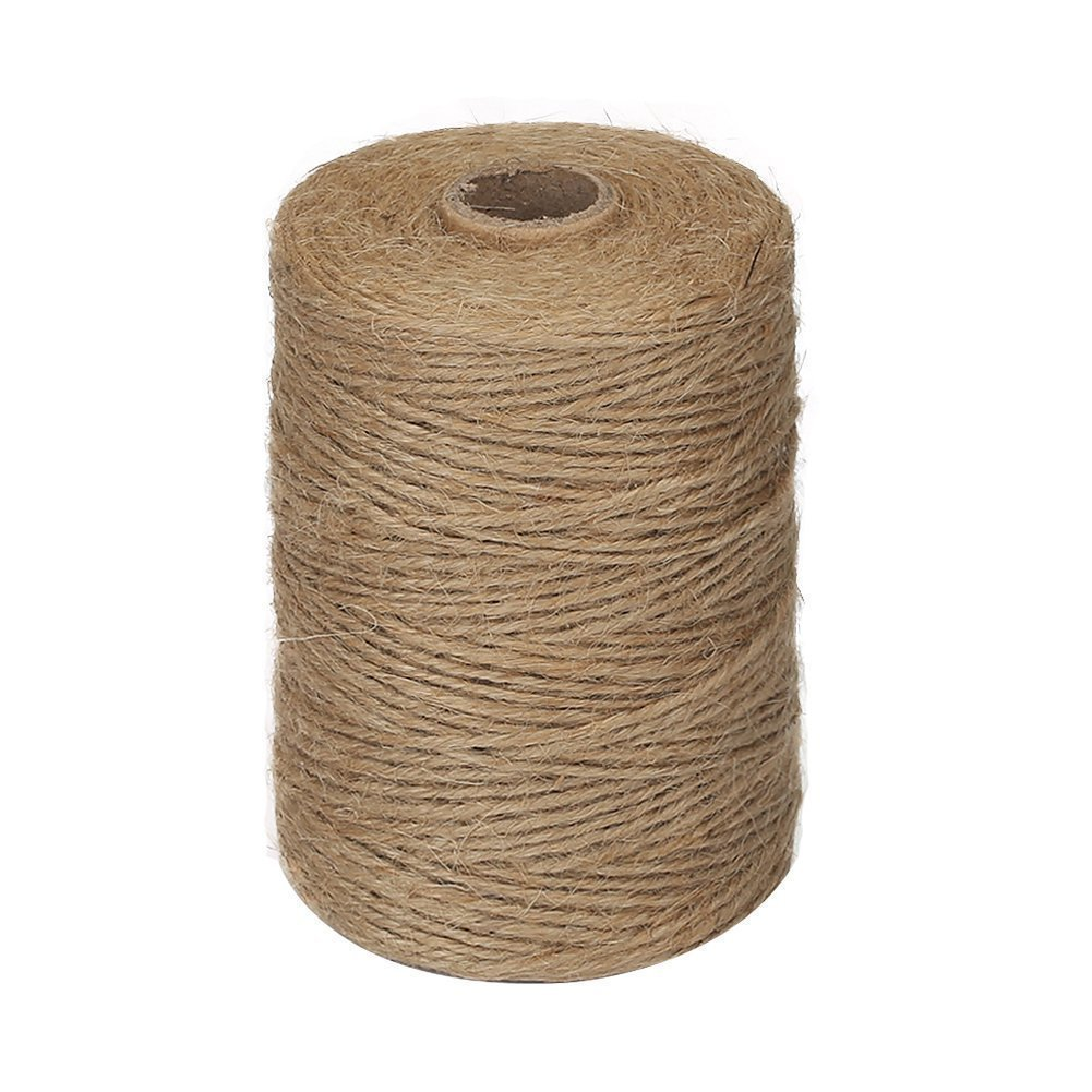 Vivifying 656 Feet 2mm 3Ply Jute Twine, Natural Thick Brown Twine for Garden, Gifts, Crafts