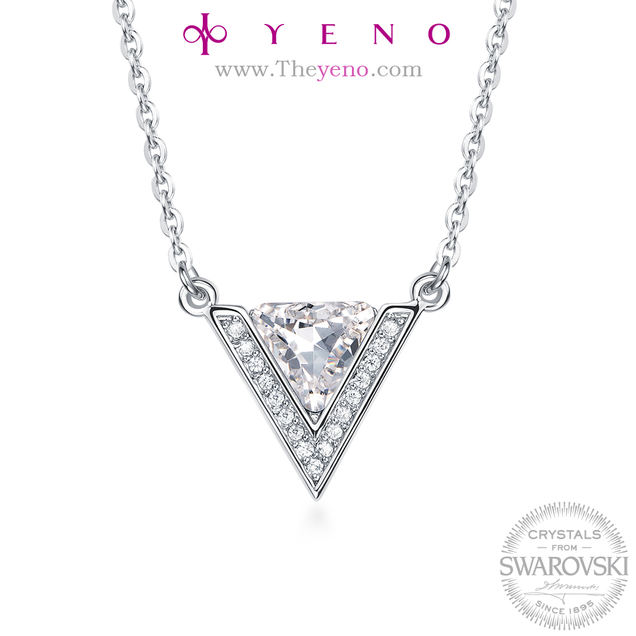 YENO Crystals bead from Swarovski Fashion Jewelry Women Special Gift New Korean design Triangle-shaped Crystal Necklace
