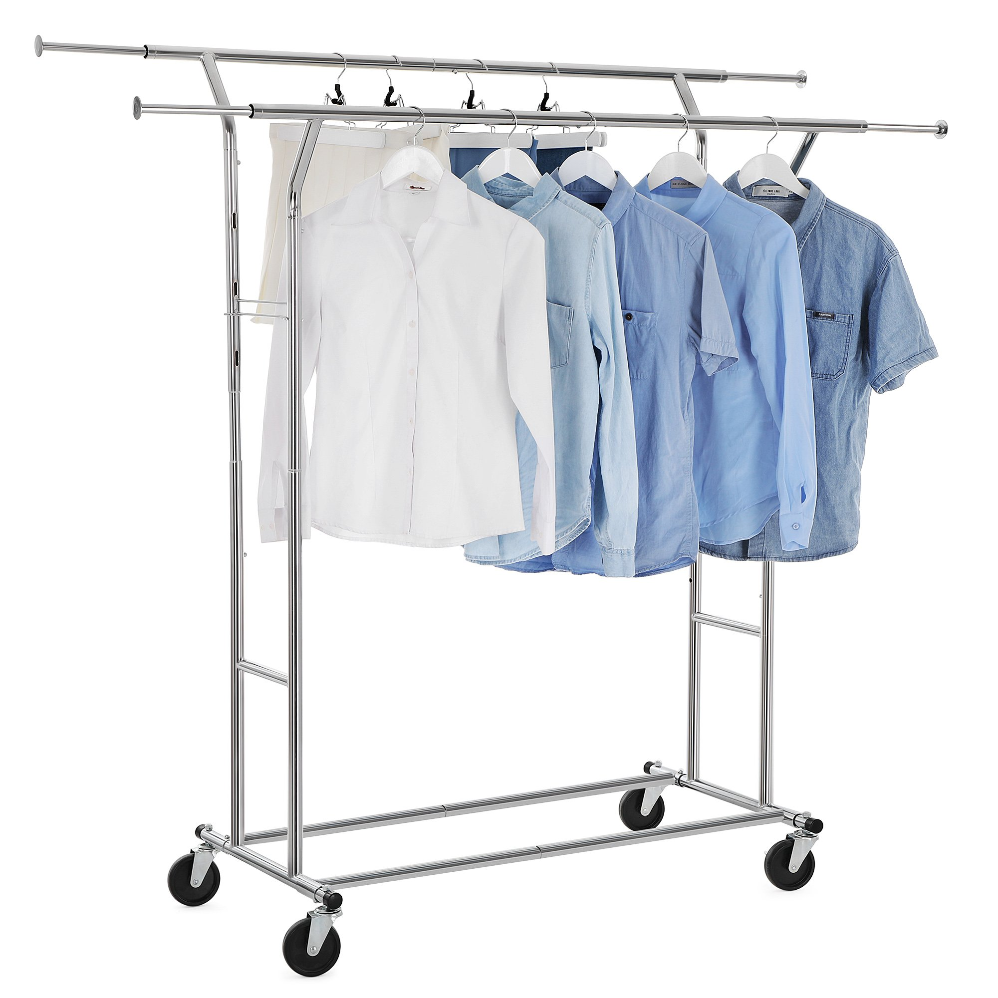 Songmics double rail clothes racks commercial grade height adjustable heavy duty clothing garment racks for boutiques