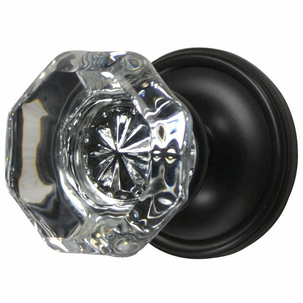 Providence Octagon Crystal Door Knob Set with Victorian Rosette in Oil Rubbed Bronze (Privacy Bed / Bath)