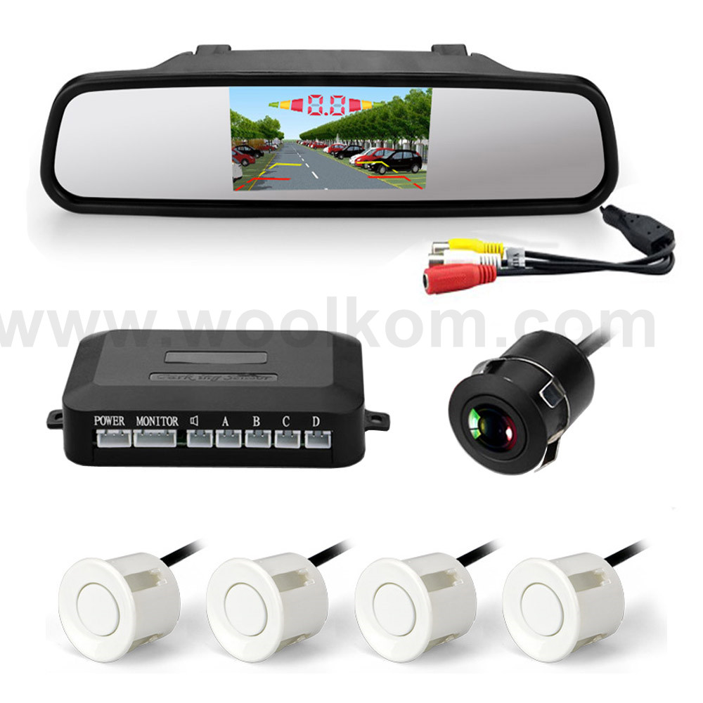 4.3inch LCD display vehicle reverse parking sensor with 8 LEDs night vision car camera