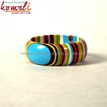 Handmade Multi Color Layered Stripe Colourful Acrylic Resin Bracelets Cuffs Bangles Jewelry