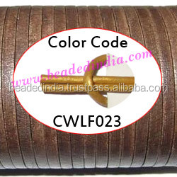 Leather Cords 3.0mm flat, metallic color - golden. Weight: 350 grams. CWLF30023