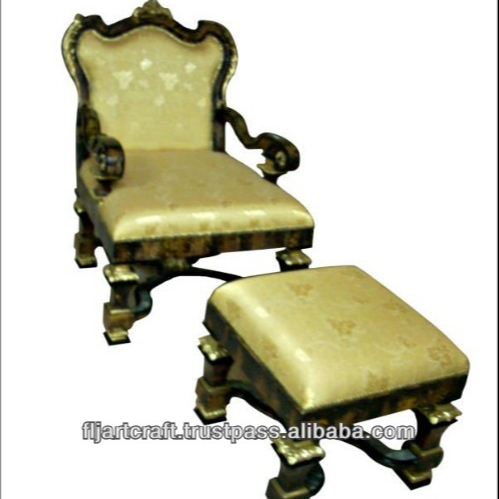 Living Room Antique Wooden Inlaid Salon Ottoman Chairs