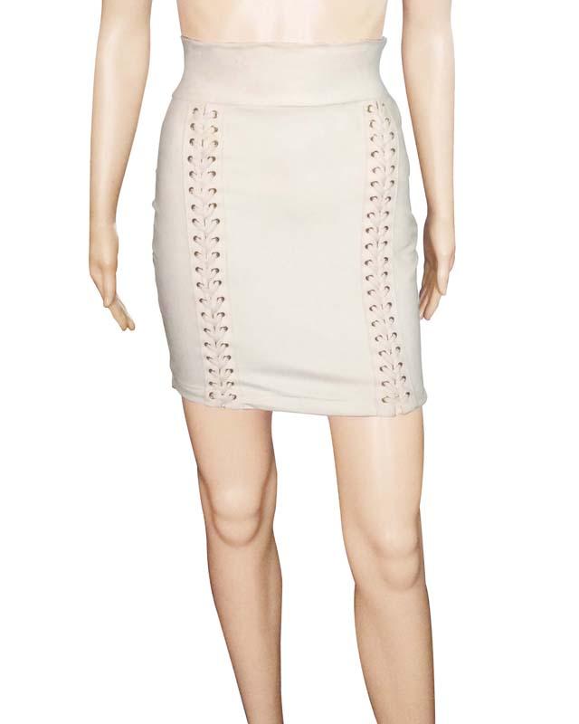 3c484da8e High Waisted Suede Lace Up Mini Skirt Hanna Grey 2017 - Buy Skirt ...