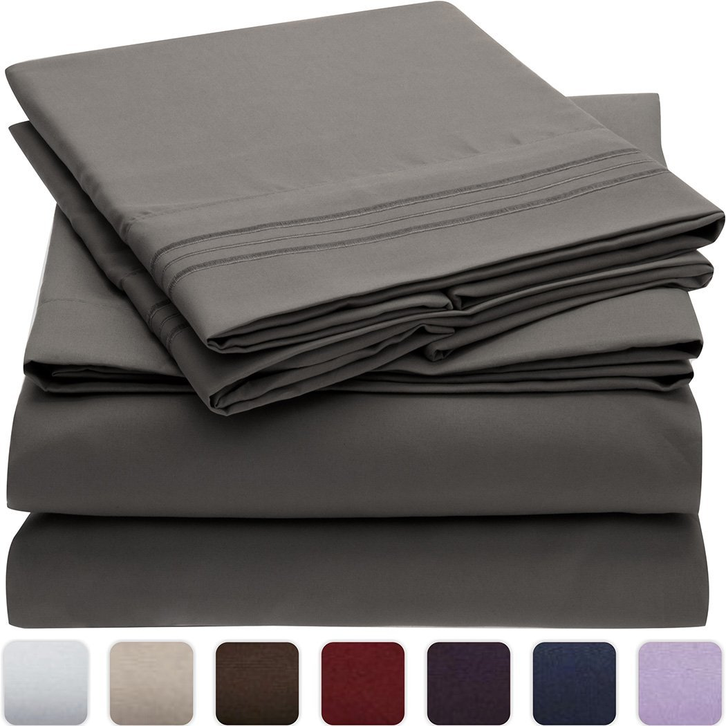 Mellanni 3pcs Bed Sheet Set - HIGHEST QUALITY Brushed Microfiber 1800 Bedding - Wrinkle, Fade, Stain Resistant - Hypoallergenic - 3 Piece - 1 Fitted Sheet and 2 Pillowcases (Queen, Gray)