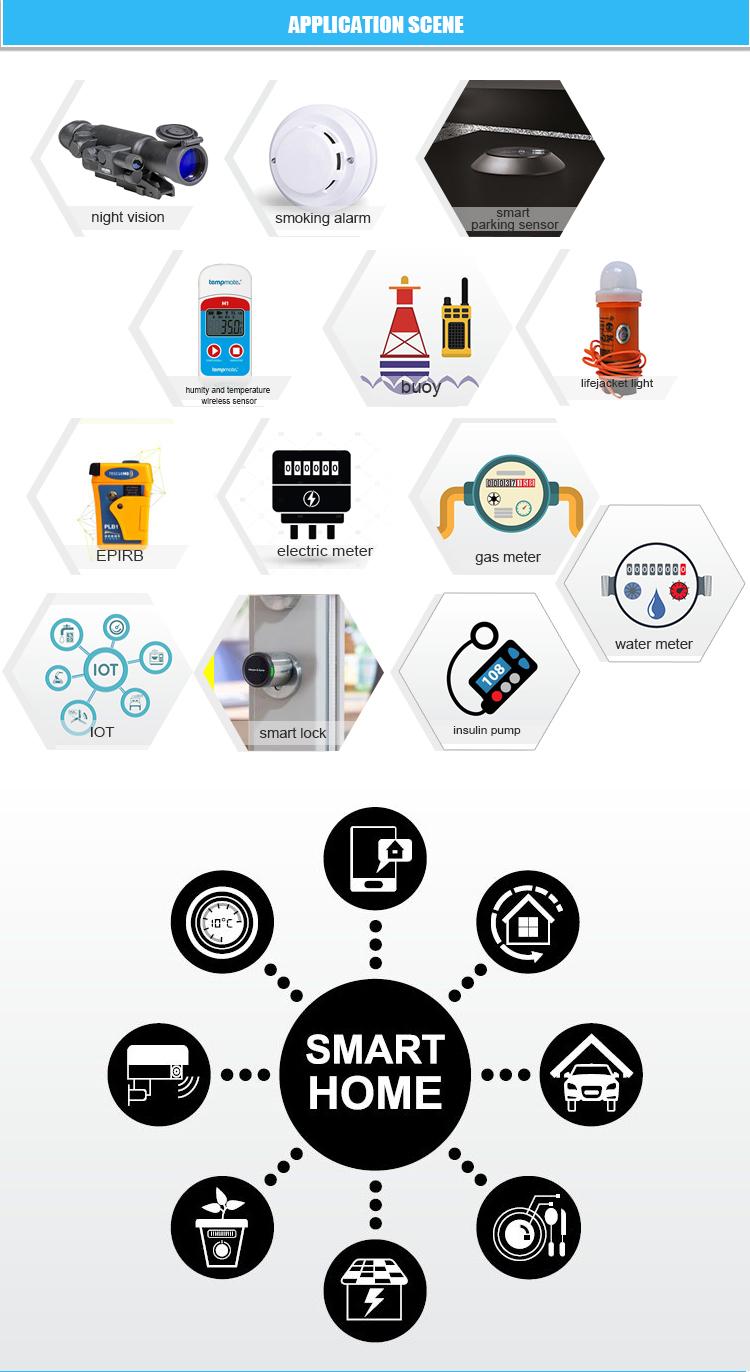 DX18505 Bir boyut 3.9 V 4000 mAh Li-SO2CL2 pil sismik anket sensörü IoT