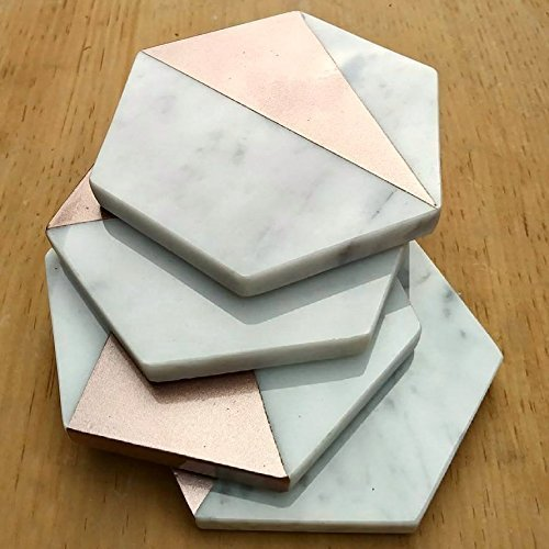 Rose Gold Painted Hexagon Carrara Marble Polished Sealed Drink Coasters (Set of 4)