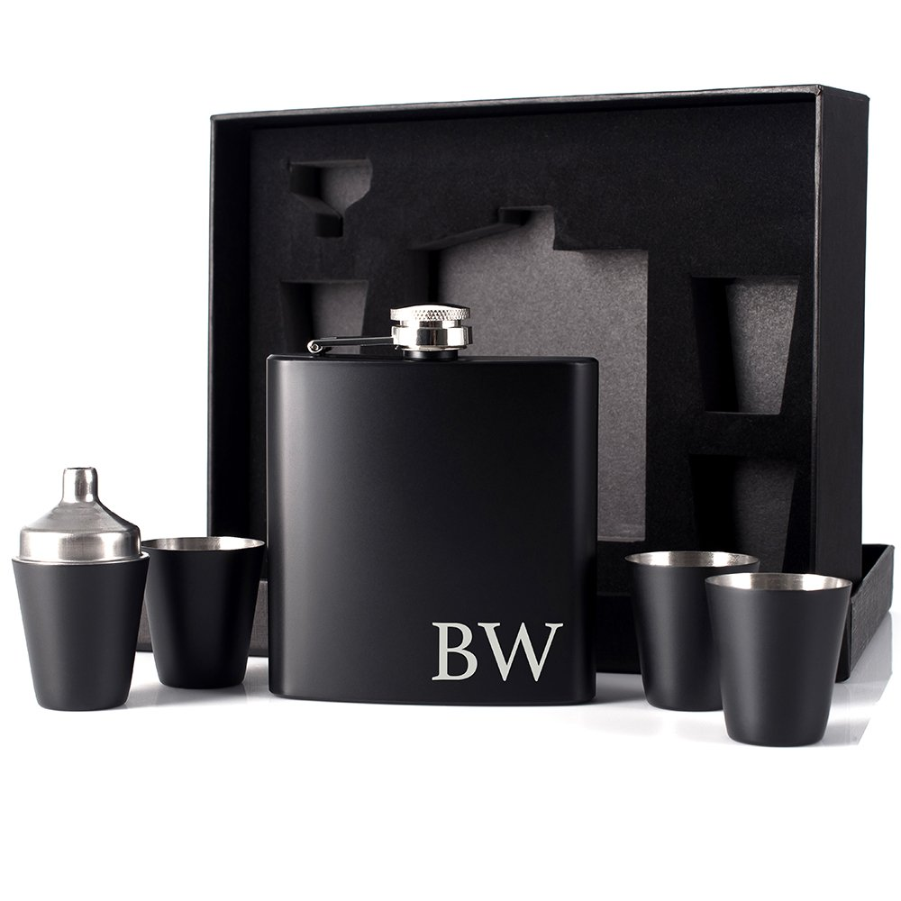 P Lab Groomsmen Gift - Groomsman Gifts For Men, Wedding Favor Customized 6 Piece Flask Set w Gift Box - Engraved 6oz Stainless Steel Hip Flask Custom Personalized Flask Gift Set, Matte Black #10