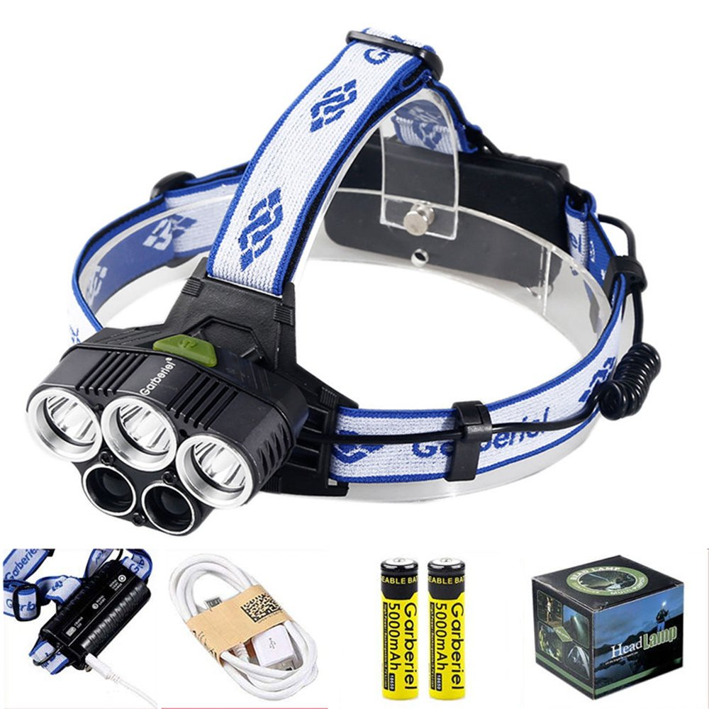 Garberiel LED Headlamp Headlight, Waterproof Super Bright Headlamp Rechargeable 6 Modes White Light and Blue Light Headlights for Climbing, Camping, Walking, Caving, Fishing, Cycling