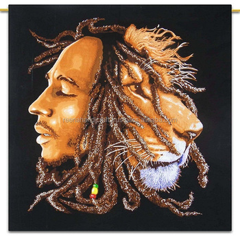 Indian Bob Marley And Lion Print Wall Hanging Cotton 45x30 Inch