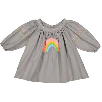 Perfect Girls Special Occasions Rainbow Motif Embroidered Relaxed Fit Shirred Neckline Classic Toddler Baby's Dress
