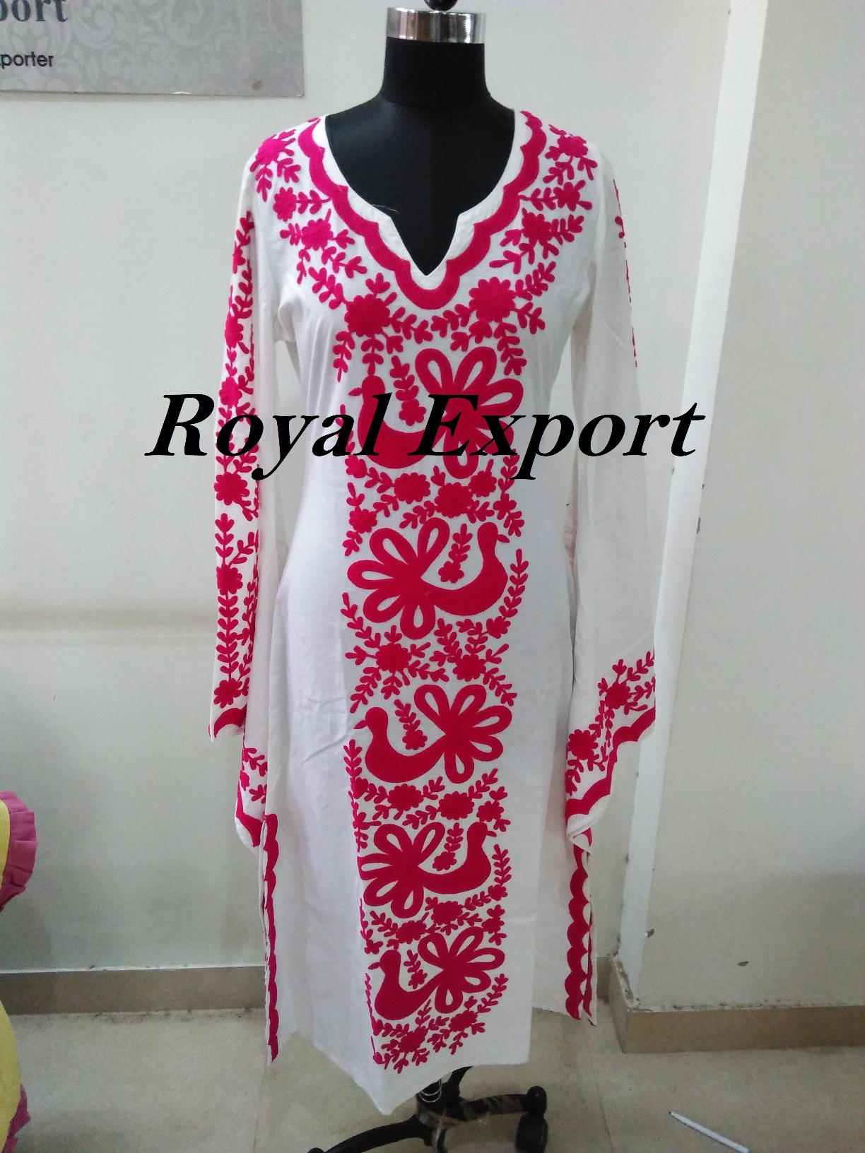 8acfd3ea9ae9 100% Cotton Pink Woolen Thread Hand Embroidery Long Party Wear Dress ...