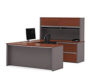 "Bestar U Shaped Desk W/Hutch 71.1""W X 96.5""D X 65.9""W Durable 1"" (25,4Mm) Commercial Grade Work Surface W/Melamine Finish Deluxe 2.5Mm Pvc Edges - Bordeaux & Slate"